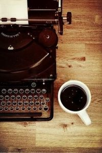 typewriter and coffe